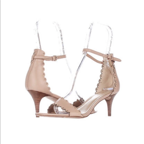 amazon search for clearance fine craftsmanship Coach nude sandals with a kitten heel